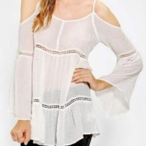UO Staring at Stars white cold shoulder tunic top